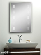 Bathroom Wall Mirror ~ Led Illuminated With Clock Shaver Sensor Demister 70x50