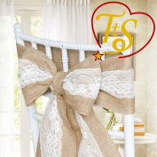 Hessian Lace Chair Cover Sashes Jute Burlap Rustic Fuller Bow Shabby Wedding