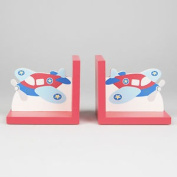 Flying - Wooden Aeroplane Themed Childrens Bookends - Red / Blue Zrjjane122