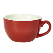 Royal Genware Bowl Shaped Cup Red 260ml - Red Porcelain Cappuccino Coffee Cup