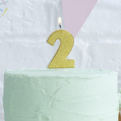 Ginger Ray Gold Glitter 2 Number Party Cake Candle - Pick And Mix