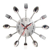AIHOME™ Kitchen Wall Clock with Sliver Cutlery Spoon Fork Waterproof