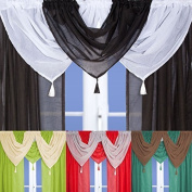 Linen Effect Voile Swag With Tassel