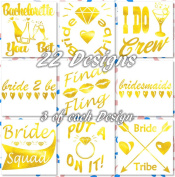 Bride Bachelorette & Bridal Party Fake Temporary Tattoos for Bridesmaids Hen Wedding & Bachelorette Party - 5 Sheets Bride Tribe Metallic Shiny Gold Flash Tattoos - Waterproof Tattoo Stickers
