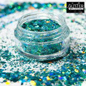 GlitterWarehouse Chunky Aqua Blue Green Loose Holographic Solvent Resistant Cosmetic Grade Glitter