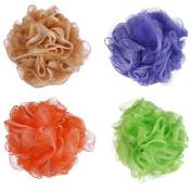 Angeltyr White Border Loofah Sponge set - Eco-friendly Exfoliating Bath Shower Ball Sponge of 4 Colours