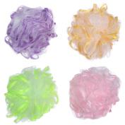 Angeltyr Ribbon Loofah Sponge set - Eco-friendly Exfoliating Bath Shower Ball Sponge of 4 Colours