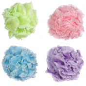 Angeltyr Lace Loofah Sponge set - Eco-friendly Exfoliating Bath Shower Ball Sponge of 4 Colours