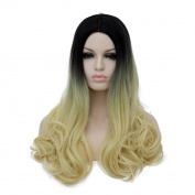 Alacos 60CM Long Curly Black Ombre to Light Gold Synthetic Costume Christmas Cosplay Wig for Women+ Free Wig Cap