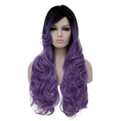 Alacos 70CM Long Curly Black Root Full Head Synthetic Christmas Anime Cosplay Wig for Women+ Wig Cap