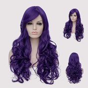 Alacos 60CM Long Curly Purple Full Head Synthetic Heat Resistant Anime Cosplay Christmas Halloween Wig for Women+ Wig Cap