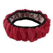 DealMux Plush Elasticity Band Warm Auto Car Head Rest Headrest Cover Black Red