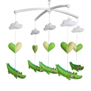 Handmade Nursery Decor Gift, Crib Mobile, [Cute Crocodile+Heart]