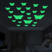 Stickers Luminous, ZTY66 Glow In The Dark 12PCS Butterflies Plastic Mural Stickers for DIY Home Decor