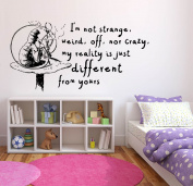 Wall Sticker Decals Alice In Wonderland Cartoon Rabbit Tea Time Cheshire Cat Girl Nursery Bedroom 1376b