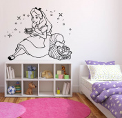 Wall Sticker Decals Alice In Wonderland Cartoon Rabbit Tea Time Cheshire Cat Girl Nursery Bedroom 1372b