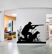 Wall Window Sticker Decal Hunter Dog Duck Hunting Gun Shooting Country Boys Bedroom 1293b