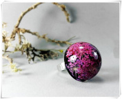 Pink and purple resin ring, Botanical jewellery