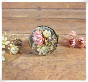 Pink and cream flower bouquet ring, real flower jewellery