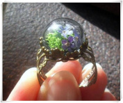 FORGET-ME-NOT Ring, real flower ring, moss fairy garden