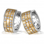 Goldmaid Women's 925 Sterling Silver Earrings Gold-Planted with 26 white Zirconia