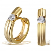Goldmaid Women's 925 Sterling Silver Earrings yellow Gold-Planted with 2 white Zirconia