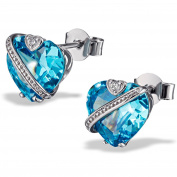 Goldmaid Fa O836SB Ladies' Stud Earrings Heart 925 Sterling Silver Rhodium Plated Turquoise Zirconia Brilliant Cut