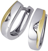 Goldmaid Ladies'Creole Earrings 925 Sterling Silver Gold-Plated with 2 Brilliant-Cut Diamond 003Carat O4260SG Sd 45 CM