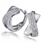 Goldmaid Women's 925 Sterling Silver Earrings with clear Zirconia
