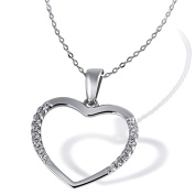 Goldmaid Women's 925 Sterling Silver Heart Necklace white Cubic Zirconia