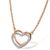 Goldmaid Women's 925 Sterling Silver Heart Necklace red gold-plated with Cubic Zirconia