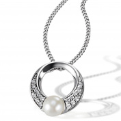 Goldmaid Women's 925 Sterling Silver Necklace pearl and white Zirconia