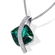 Goldmaid Women's 925 Sterling Silver Necklace Emerald coloured Zirconia
