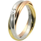 9Ct Tri-Colour Solitair Gold Ring With 1 Diamond 0.10 Carat By Goldmaid