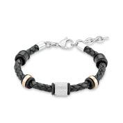 s.Oliver Men's Bracelet Leather / Stainless Steel - 22 CM - 524643