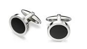 Fred Bennett Stainless Steel for Men's Stainless Steel Round Black Onyx Cufflinks