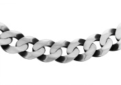 Tuscany Silver Sterling Silver Men's 220 Oxidised Flat Curb Chain of Length 61cm