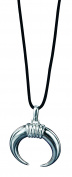 Fred Bennett Mens P2860 Silver Black Rhodium Plated Tusk Pendant with High Polish Rings on Cord Necklace Length 51cm