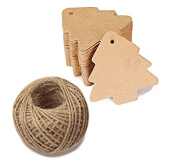 100 PCS Kraft Paper Gift Tags Christmas Tree Shape Brown Kraft Hang Tag Bonbonniere Wedding Favour Gift Tags with Jute Twine 30 Metres Long for DIY Crafts & Price Tags