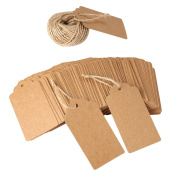 120 PCS Kraft Paper Gift Tags Wedding Brown Rectangle Craft Hang Tags with Free 30m Natural Jute Twine