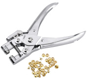 Eyelet Pliers Paper Punch, MROCO Eyelet Punch Hand Punch Manual Hole Punch Plier Punch Leather Craft Eyelet Setting Eyelet tool Eyelet Installation Methods with 20 Eyelets For Fabric, Leather, Bags