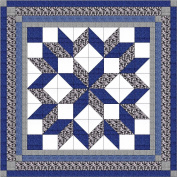 Easy Quilt Kit Carpenters Wheel/ Blue/Black and Grey Camo-Expedited Shipping