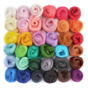 LoveInUSA 36 Colours Fibre Wool Yarn Roving for DIY Craft Materials