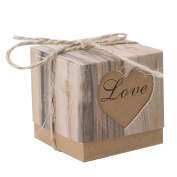 cici store 50 Pcs Square Box Vintage Sweet Decor Wedding Party Kraft Paper