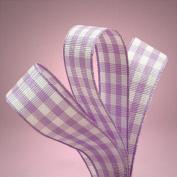 1.6cm . Wide Purple White Gingham Ribbon - 25 Yards