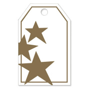 Metallic Gold Stars Gloss Printed Gift Tags - 2 1/4 x 3 1/2