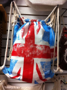 36cm x 46cm Cotton Drawstring Backpacks LONDON FLAG-3 count pack