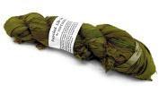 100g Recycled Sari Silk Ribbon Yarn, Jewellery Making Trim - Olive green