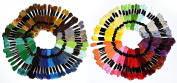 150-Skeins Embroidery Floss Mega Pack , Approx. 8m per skein Various Colours , 100% mercerized Cotton
