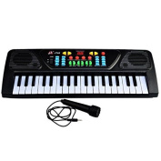 Piano For Kids, Finer Shop 37-key Abs Black Piano Keyboard With Microphone For